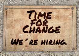 Picture of time for change, we're hiring